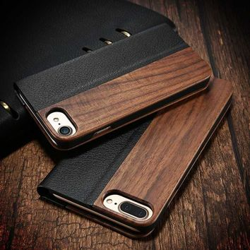 For iPhone X Business Man Hard Bamboo Wood + PU Leather Stand Wallet Holster Case Cover For iPhone 6 7 8 iPhone X