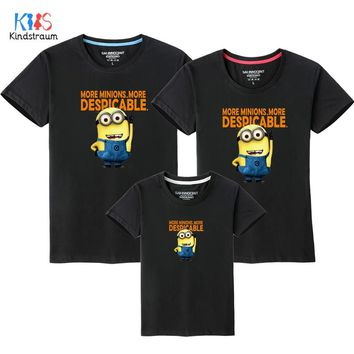 2018 New Family Look T Shirts 10 Colors Summer Family Matching Clothes Dad & Mom & Son & Daughter Cartoon Minions Outfits, HC311