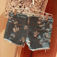 Skull Print Denim Shorts