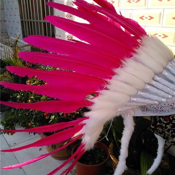 Hot pink Chief Indian feather Headdress Native American headdress hand made War Bonnet  indian headdress feather hat