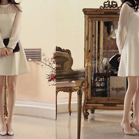 Long length sleeves simple wedding dress with white collar