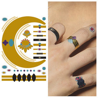Metallic Gold Red Temporary Tattoo Wristband and Rings - 1 x A5 Sheet