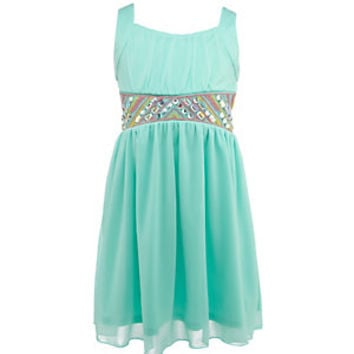 I.N. Girl 7-16 Embroidered Beaded-Waistline Dress | Dillard's Mobile