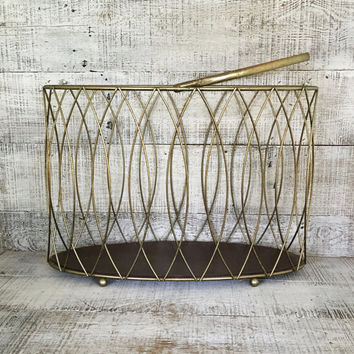 Brass Basket Brass Magazine Rack Mid Century Hollywood Regency Gold Basket Gold Tone Magazine Holder Metal Basket Large Brass Basket