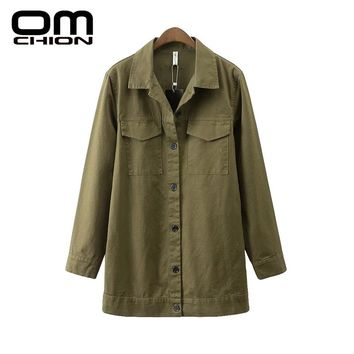 New Casual Loose Solid Jacket Embroidery Pockets Long Sleeve Women Jacket