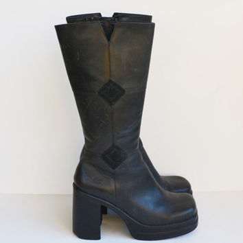 Vintage 90s Black Platform Boots Chunky Heel Black Tall Leather Boot Rave Club Kid Grunge Goth Zip Up Boot Size 7