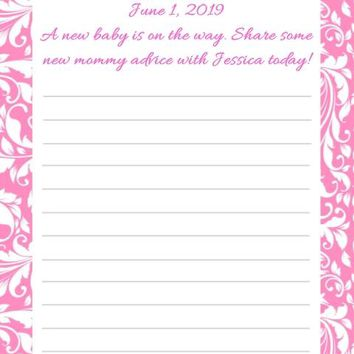 10 Pink Demask Baby Shower Advice Cards