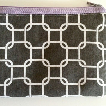 Coin Purse Coin Bag Small Cosmetic Clutch in Purple and Gray Lattice