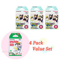 Instax Film Package 3 Plus 1 - 4 Pack Value Set Fujifilm Instax Mini Film White Plus Stained Glass Polaroid Instant Photos 40 Shots