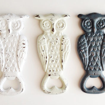 Owl Bottle Opener, Cast Iron Beer Opener, Wedding Party Gift, Owl Kitchen Decor, Vintage Style Barware, Customize, Choose Your Color