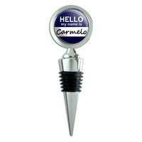 Carmelo Hello My Name Is Wine Bottle Stopper