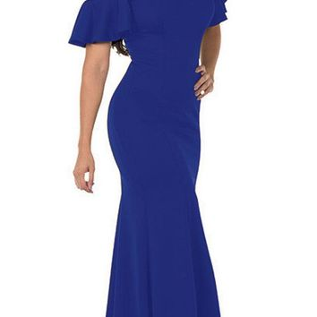 Cold-Shoulder V-Neck Mermaid Long Prom Dress Royal Blue