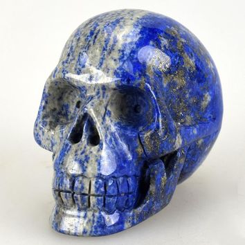 Skull Skulls Halloween Fall 3.0'' Natural Lapis lazuli Carved Crystal ,Collection of statues, home decor,Crystal Healing,crystal  Sculptures Calavera