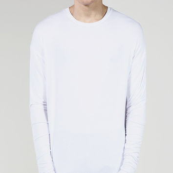 Essential Long Sleeve Under Scoop T-shirt - White | REPRESENT CLO