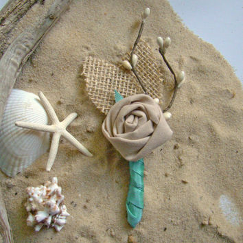 Beach Wedding Boutonniere Groom Groomsmen Neutral Aqua Fabric Rosette Destination Wedding Burlap Sea Ocean Wedding