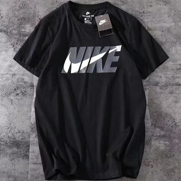 NIKE new trend men and women stylish big hook T-shirt F-A-BM-YSHY Black