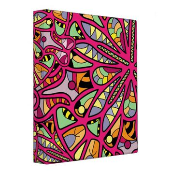 Kaleidoscopic Multicolored Abstract Pattern Binder