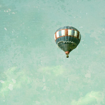 Vintage Inspired Mint Aqua Blue Green  Hot Air Balloon - Fine Art Photo