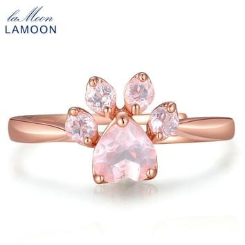 LAMOON Adjustable wedding Ring Animal Clam Pink Natural Gemstone Rose Quartz 925 Sterling Silver Fine Jewelry For Women LMRI027