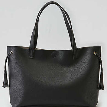 Street Level Side Tassel Tote , Black