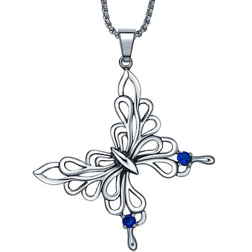 Stainless Steel Butterfly W. Blue Crystal Pendant Necklace