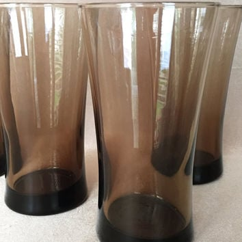 Smoke Brown Glasses, Tall Tumblers, 70s Style, Drinking Glass, Taupe Smoke Color, Tapered Trumpet, Modern Design, Summer, 70s Ice Tea Glass