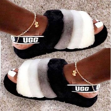 UGG Slippers Warm and fluffy New Women's Fashion Fluff Yeah Slipper Slide