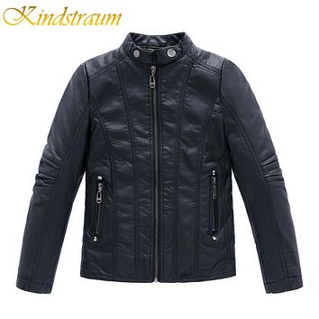 New Fashion Kids Faux Leather Jackets Boys Kid Clothes Spring Fall Children Fashion Coats Girls Outerwear