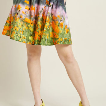 Scenic Spring A-Line Cotton Skirt with Pockets