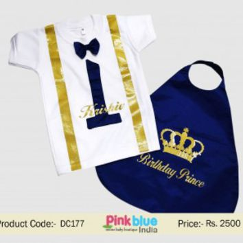 Buy Boy 1st Birthday Cake Smash Outfit Set in Royal Blue & Gold Crown Prince Theme