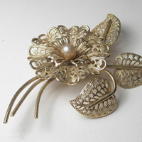 Vintage Gold Tone Filigree Blossom, Stem, & Leaves Brooch with Faux Pearl Center, Mid-Century, 3""