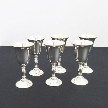 Set of 6 silverplate shot glasses cordial goblets glasses - AMC India silver shot glasses -  Retro Barware - Dessert wine glasses