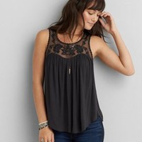 AEO Lace Drapey Tank , Tar Ash | American Eagle Outfitters