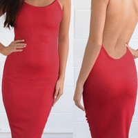 'The Keira' Red  Bodycon Backless  Dress