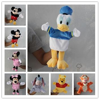 1pcs Original Mickey Mouse Hand Puppet Donald Duck Minnie mouse Tigger Plush Puppet Toys Gifts baby kids soft toys