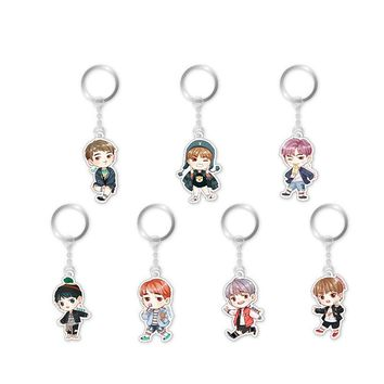 LNRRABC 1PC Hot Fashion Cute Kpop BTS Bangtan Boys Suga JIN V J HOPE Acrylic Keychain Keyring Pendant