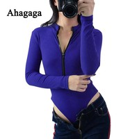 Ahagaga 2017 Autumn Winter Rompers Woman Jumpsuits Fashion Solid Blue Zipper Sexy V-neck Skinny Women Bodysuits Rompers Female
