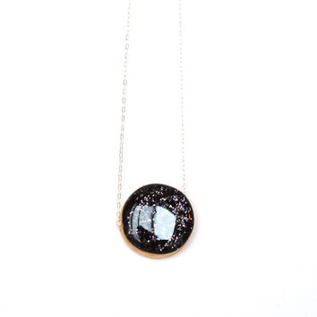 Black glitter Cirlce statement necklace bubble necklace starry night spring jewelry eco friendly jewelry starlightwoods