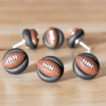 Football Push Pins Home Office Organization in Black Polymer Clay. Custom College, NFL Team Colors Available. Unisex/Men Gift Set of 6