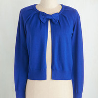 Darling Short Length Long Sleeve Bow My Way Cardigan in Cobalt by ModCloth