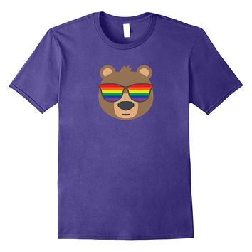 Gay Bear Wearing LGBTQ Pride Flag Sunglasses T-Shirt