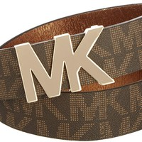 Michael Kors Womens MK Logo Belt-X-Large Brown
