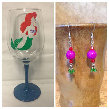 Gift Bundle Ariel Wine Glass and Earrings inspired by Disney's The Little Mermaid vinyl
