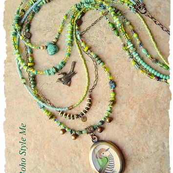 Bohemian Necklace, Bird Lover, Genuine Turquoise, Multiple Strands, Nature Inspired Jewelry, Boho Style Me, Kaye Kraus
