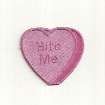 CREYONV bite me anti conversation heart patch any color custom made