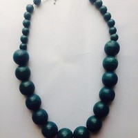 Beaded Blue Necklace Giant Wooden Beads Vintage Style