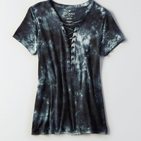 AEO Soft & Sexy Lace-Up T-Shirt, Gray