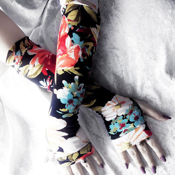 Autumn at Butchart Arm Warmers - Sky Blue Olive Green Orange Red Cream White Floral - Yoga Mori Girl Gothic Belly Dance Goth Cycling Light
