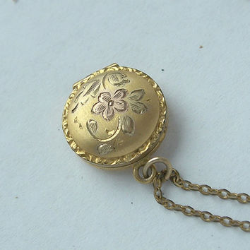 Antique Baby Locket,Gold Filled Child Locket,Girls Locket,Miniature Locket,Small Locket,Locket Necklace,Doll Locket,Flower Locket,Little