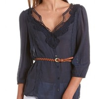 Belted Crochet Trim Gauzy Tunic: Charlotte Russe